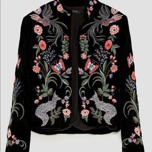 Zara Embroidered Blazer in Velour-Velvet Type